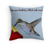 Hummingbird Birthday Greetings Throw Pillow