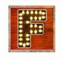 Vintage Lighted Sign - Monogram Letter F Art Print