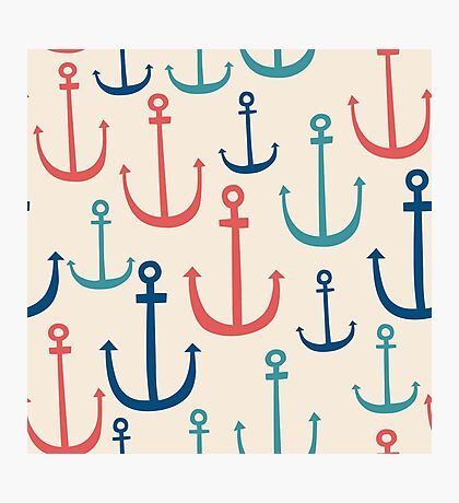 Cute doodle anchors. Nautical symbols.  Photographic Print