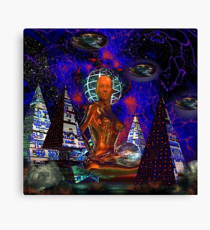 Cybergal Temple - digital art Canvas Print