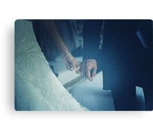 Wedding couple bride groom holding hands analogue film photo Canvas Print