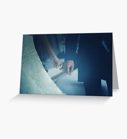 Wedding couple bride groom holding hands analogue film photo Greeting Card