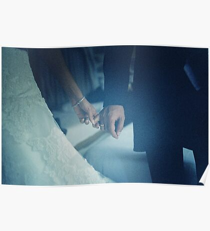 Wedding couple bride groom holding hands analogue film photo Poster