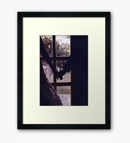 Wedding couple bride groom holding hands analogue film photograph Framed Print