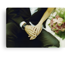 Wedding couple bride groom holding hands analogue film photography Canvas Print