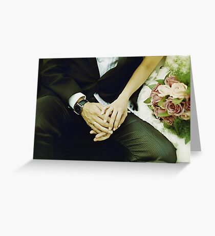 Wedding couple bride groom holding hands analogue film photography Greeting Card