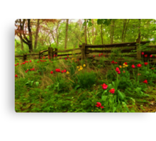 Dreamy Forest With Tulips - Impressions Of Spring Canvas Print