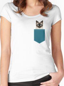 Ezra - Siamese Cat, Cute Kitten Retro Cat Art cell phone case, siamese, cute cat Women's Fitted Scoop T-Shirt