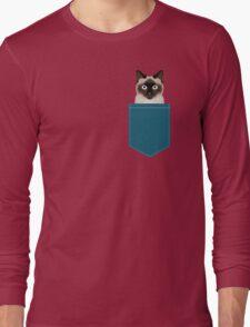 Ezra - Siamese Cat, Cute Kitten Retro Cat Art cell phone case, siamese, cute cat Long Sleeve T-Shirt