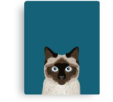 Ezra - Siamese Cat, Cute Kitten Retro Cat Art cell phone case, siamese, cute cat Canvas Print