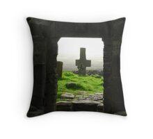 Stone church Stone cross, Ireland Throw Pillow
