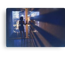 Slim young lady in hotel corridor analog film photo Canvas Print