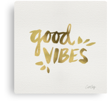 Good Vibes - Gold Ink Canvas Print