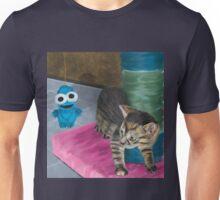 Cute Grey Kitten Looking at a Blue Doll Unisex T-Shirt