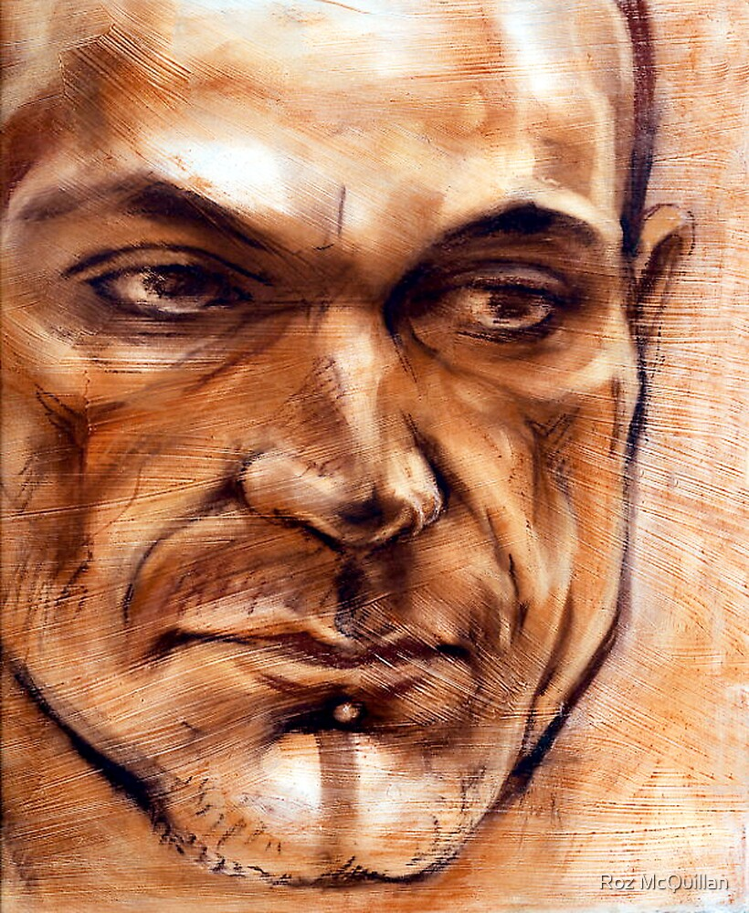Michel - portrait in conte pencil and pastel by Roz McQuillan