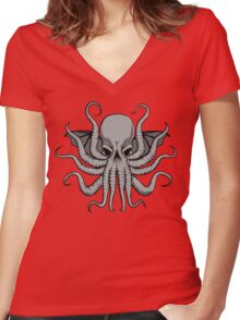 Grey Chtulhu Women's Fitted V-Neck T-Shirt