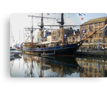 Tall Ship in Barbican Harbour Plymouth Canvas Print