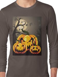 Scary Pumpkins in Forest 2 Long Sleeve T-Shirt
