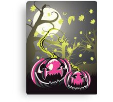 Scary Pumpkins in Forest 4 Canvas Print