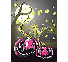 Scary Pumpkins in Forest 4 Photographic Print