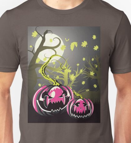 Scary Pumpkins in Forest 4 Unisex T-Shirt