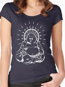 Sunburst Happy Buddha Inverted Women's Fitted Scoop T-Shirt