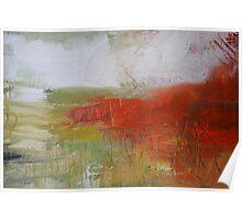 Red White Abstract Painting  Poster