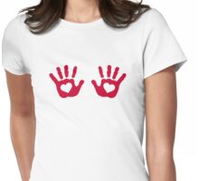 Red baby hands hearts Womens Fitted T-Shirt