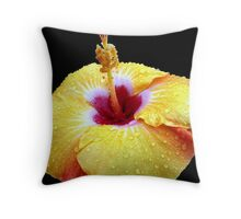 Hi Biscus!!...drenched Throw Pillow