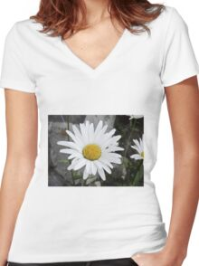 Chamomiles in the garden 4 Women's Fitted V-Neck T-Shirt