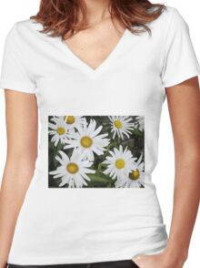 Chamomiles in the garden 6 Women's Fitted V-Neck T-Shirt