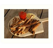 Bread Sticks with Butter & Tomato Sauce Art Print