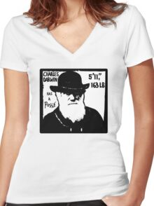 Charles Darwin Has A Posse Women's Fitted V-Neck T-Shirt