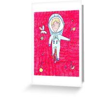 """Pink Dreamer"" print Astronaut  Greeting Card"