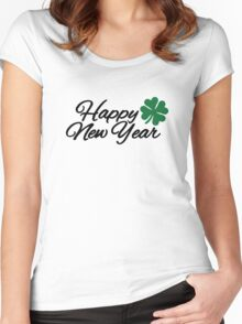 Happy New Year shamrock Women's Fitted Scoop T-Shirt