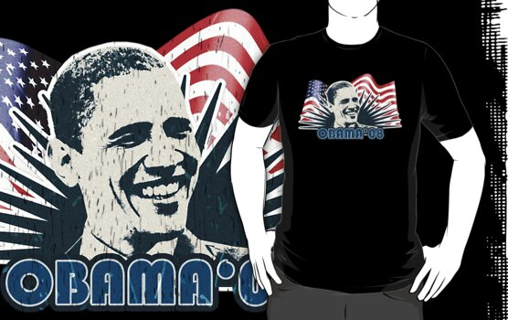 Obama Distressed Vintage Shirt by JayBakkerArt