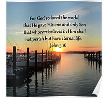 SERENE SUNSET JOHN 3:16 PHOTO DESIGN Poster