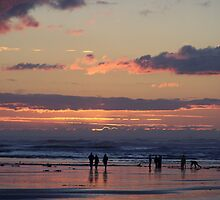 CLAM DIGGERS AT DUSK  by MsLiz