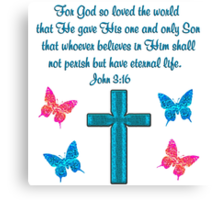 BLUE CROSS AND BUTTERFLY JOHN 3:16 DESIGN Canvas Print