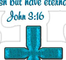 BLUE CROSS AND BUTTERFLY JOHN 3:16 DESIGN Sticker