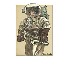 Space Cat with Saxophone Photographic Print