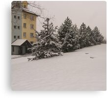 snowy green with the blocks of flats Canvas Print