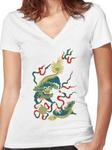 Asian Art Two Lions Women's Fitted V-Neck T-Shirt