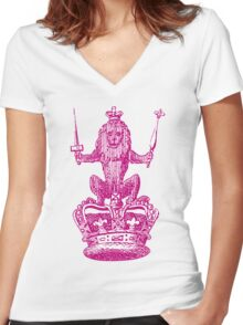 Lion Sceptre & Crown Women's Fitted V-Neck T-Shirt