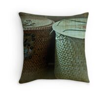 Old Sewing Baskets Throw Pillow