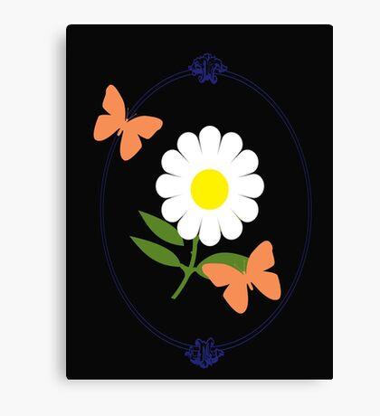 Daisy Butterfly Frame Canvas Print