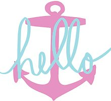 Hello Anchor Pink & Blue Design by hellosailortees