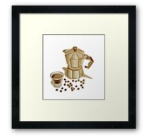 Moka Pot with Espresso Shot Framed Print