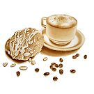 Almond Danish and Cappuccino by joeyartist