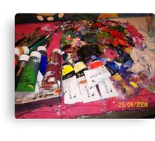 The Artists palette and other mess and junk Canvas Print